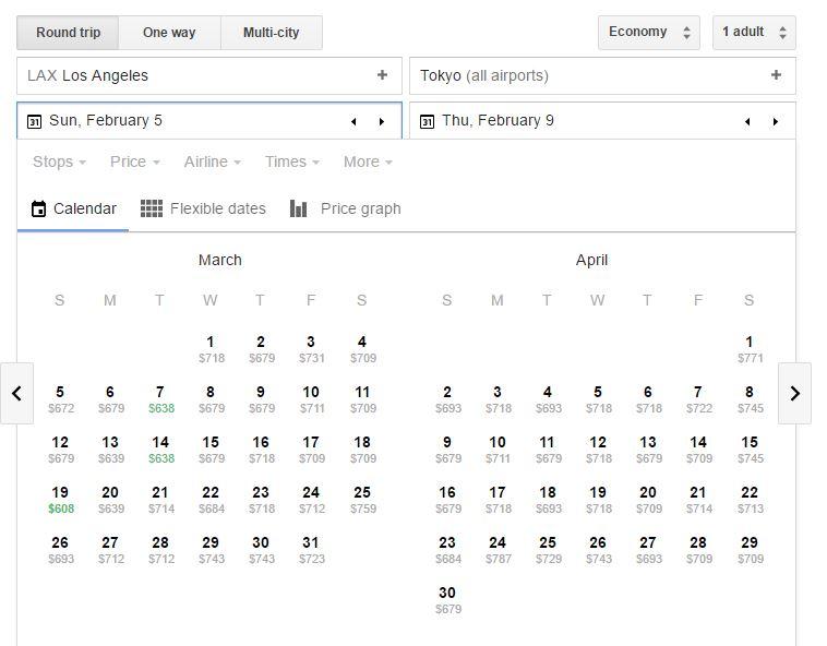 google flgith departure calendar
