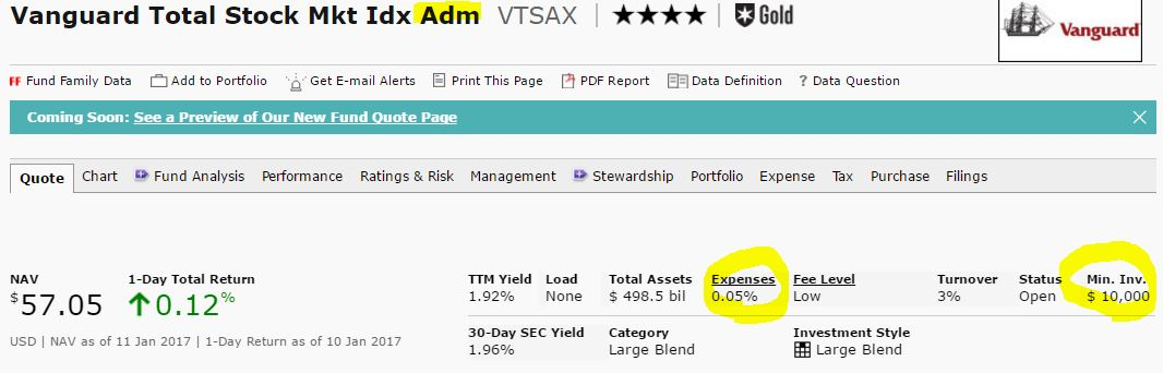 vanguard total stock market admiral