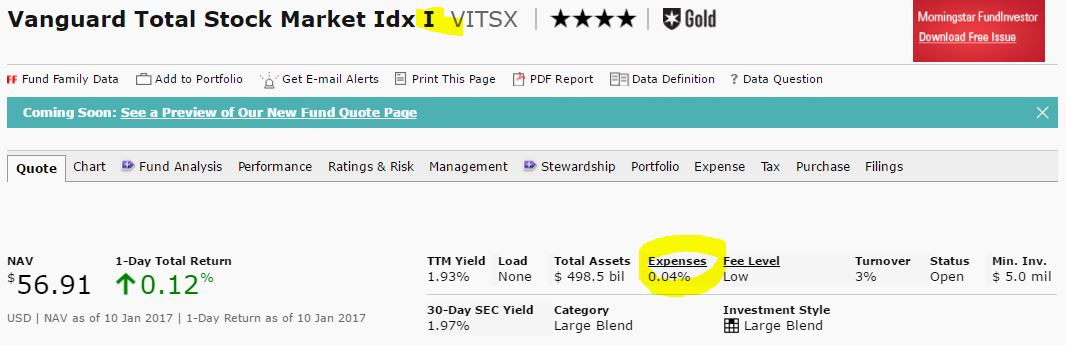 vanguard total stock market investorl